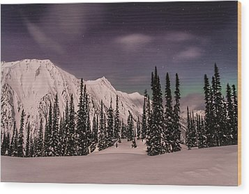 Fairy Meadows Northern Lights Wood Print by Ian Stotesbury
