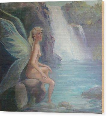 Fairy Of The Secret Falls Wood Print by Gwen Carroll