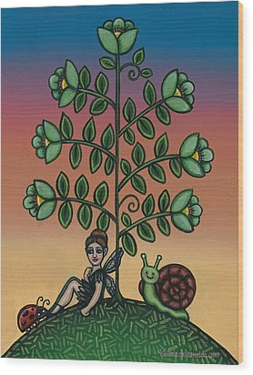 Fairy Series Tina Wood Print by Victoria De Almeida