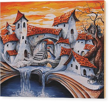 Fairy Tale City - Magic Stream Wood Print by Emerico Imre Toth