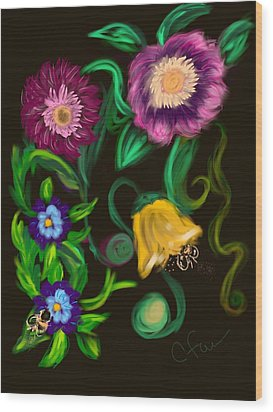 Wood Print featuring the digital art Fairy Tale Flowers by Christine Fournier