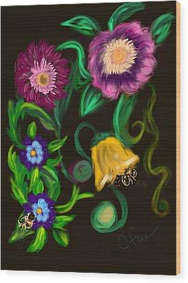 Fairy Tale Flowers Wood Print