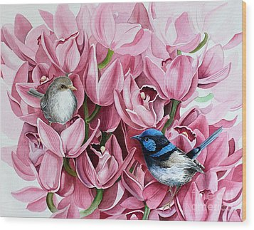 Fairy Wrens And Orchids Wood Print by Debbie Hart