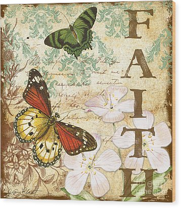 Faith And Butterflies Wood Print by Jean Plout