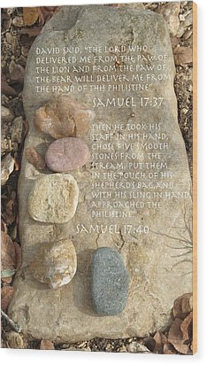 Faith And Five Stones Wood Print
