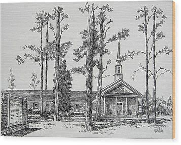 Wood Print featuring the drawing Faith Presbyterian Church by Gloria Turner