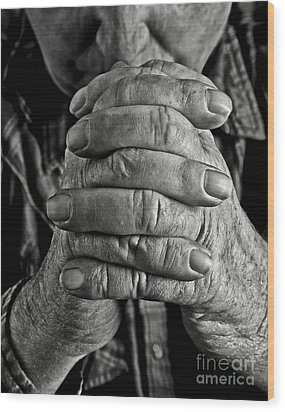 Faithful Hands Wood Print by Pattie Calfy