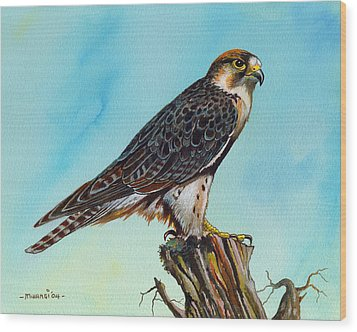 Wood Print featuring the painting Falcon On Stump by Anthony Mwangi