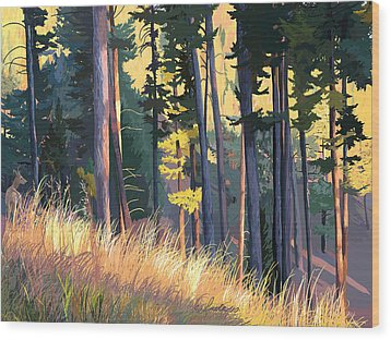 Fall Alpenglow Trees Grasses Wood Print