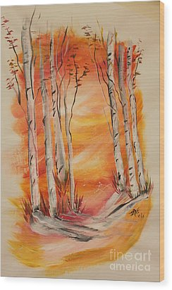 Wood Print featuring the painting Fall Aspen On Paper by Janice Rae Pariza