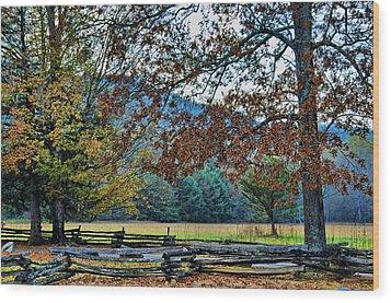 Fall At Cades Cove Wood Print by Kenny Francis