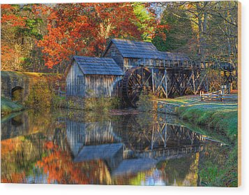 Fall At Mabry Mill Wood Print