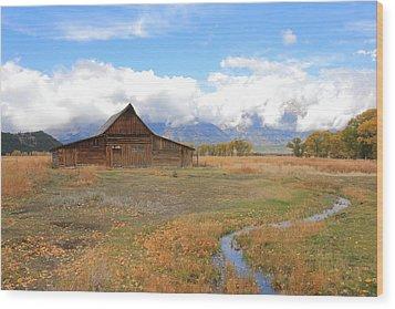 Fall At Moulton Barn Wood Print