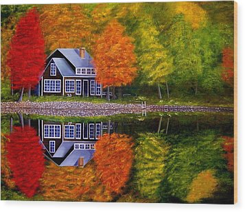 Fall At The Cabin Wood Print