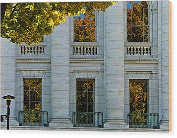 Fall At The Capitol Wood Print by Christi Kraft