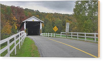 Fall At The Jacksons Mill Covered Bridge Wood Print by Dan Myers
