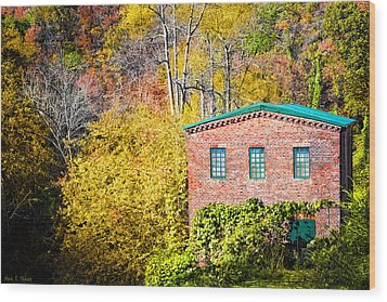 Fall At The Old Mill In Roswell Wood Print by Mark Tisdale