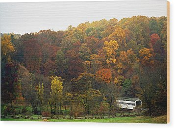 Fall At Valley Forge Wood Print by Skip Willits