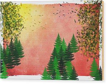 Fall Autumn Four Seasons Art Series Wood Print by Christina Rollo