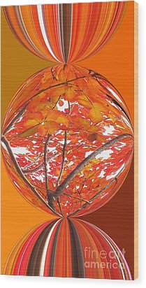 Fall Ball - Autumn Leaves And Color Wood Print by Scott Cameron