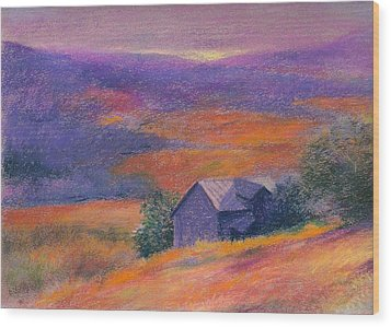Fall Barn Pastel Landscape Wood Print by Judith Cheng