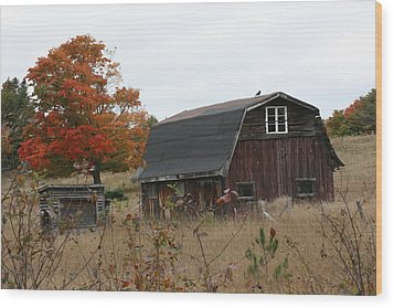Wood Print featuring the photograph Fall Barn by Paula Brown