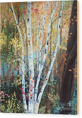 Fall Birch Trees Wood Print by Laura Tasheiko