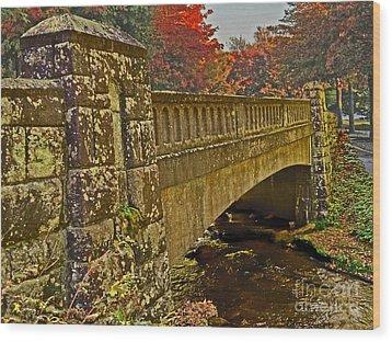 Fall Bridge Wood Print by Larry Bishop