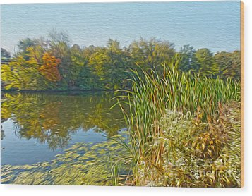 Fall By The River Wood Print by Nur Roy