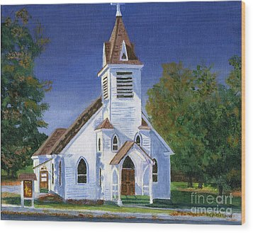 Fall Church Wood Print by Lynne Reichhart