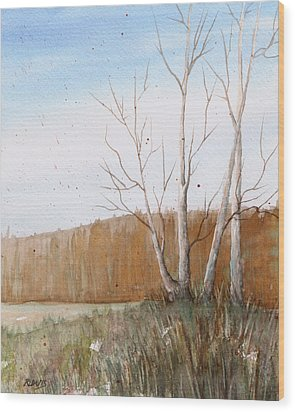Wood Print featuring the painting Fall Clearing by Rebecca Davis