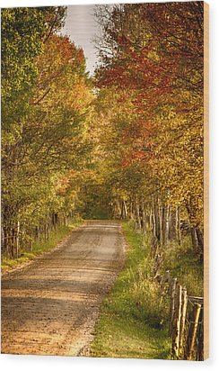 Wood Print featuring the photograph Fall Color Along A Peacham Vermont Backroad by Jeff Folger