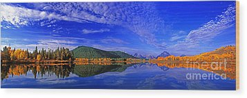 Wood Print featuring the photograph Fall Color Oxbow Bend Grand Tetons National Park Wyoming by Dave Welling