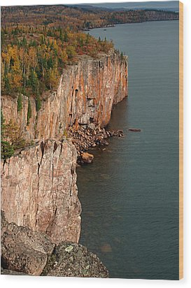 Fall Colors Adorn Palisade Head Wood Print