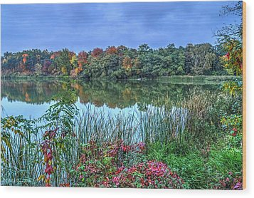 Fall Colors At Blue Hour Near Zegrze Wood Print by Julis Simo