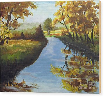 Wood Print featuring the painting Fall Colors by Carol Hart