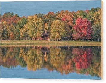 Fall Colors In Cabin Country Wood Print by Paul Freidlund