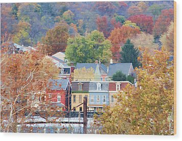 Fall Colors In Columbia Pennsylvania Wood Print
