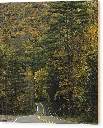 Fall Colors On Mohawk Trail Near Charlemont Wood Print