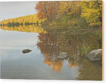 Fall Colors On Taylor Pond Mount Vernon Maine Wood Print by Keith Webber Jr