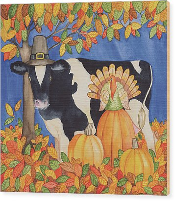 Fall Cow Wood Print by Kathleen Parr Mckenna
