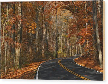 Wood Print featuring the photograph Fall Curves by Andy Lawless