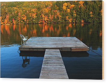 Fall Dock In Vt Wood Print by Andrea Galiffi