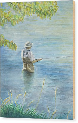 Wood Print featuring the painting Fall Fisher by Arthur Fix