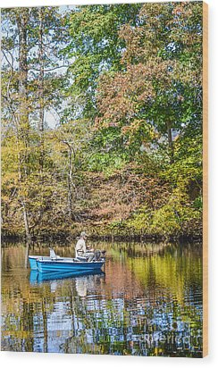 Wood Print featuring the photograph Fishing Reflection by Debbie Green