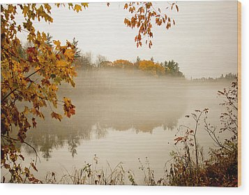 Fall Foggy Day  Wood Print by Allan Millora