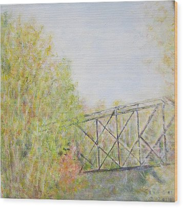 Fall Foliage And Bridge In Nh Wood Print