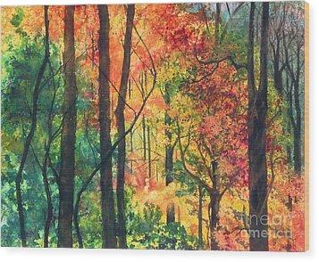 Fall Foliage Wood Print by Barbara Jewell