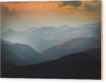 Fall Foliage Ridgelines Great Smoky Mountains Painted  Wood Print
