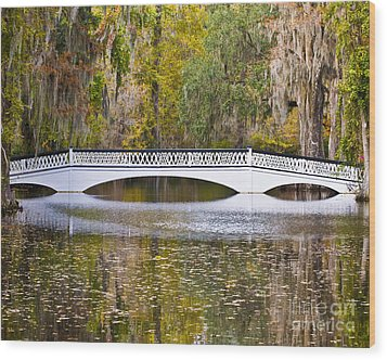 Fall Footbridge Wood Print by Al Powell Photography USA